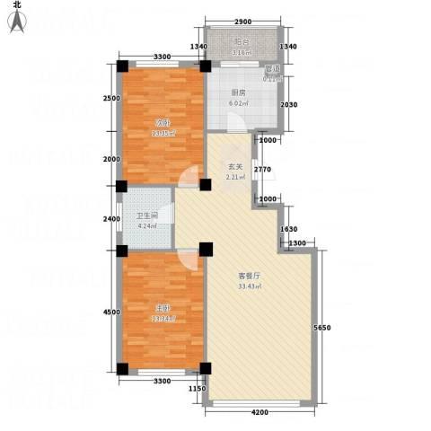 龙脉海景花园2室1厅1卫1厨73.65㎡户型图