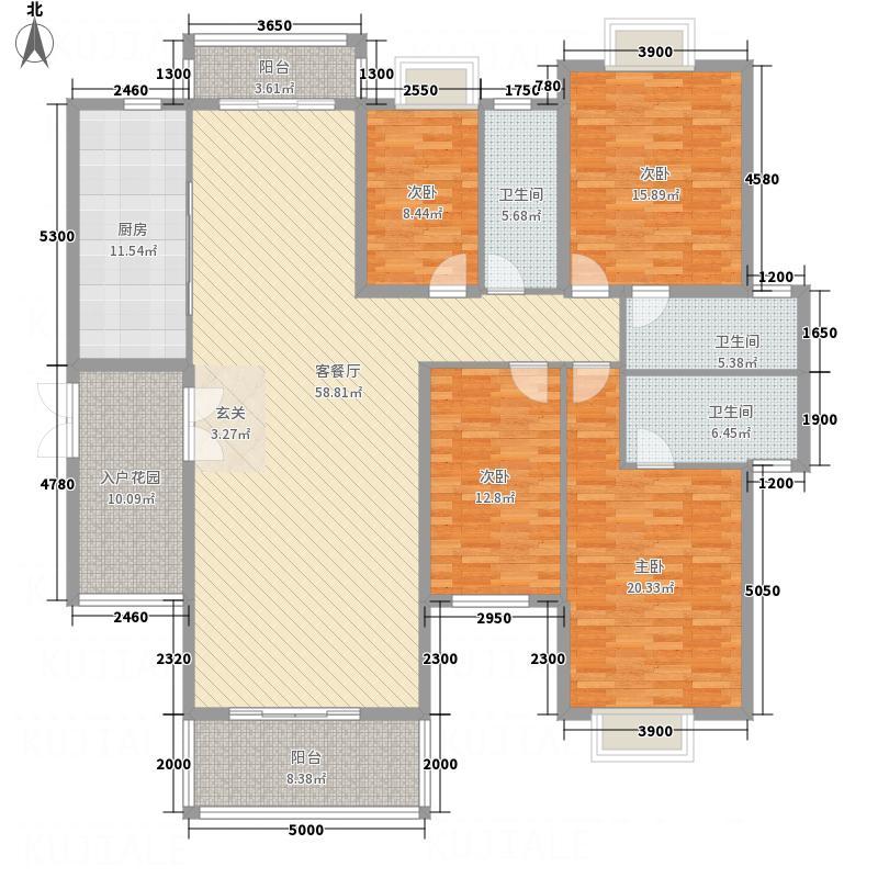 橘洲一号26.00㎡F户型4室2厅3卫1厨