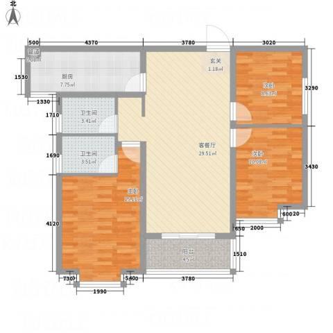 卓越香樟美域3室1厅2卫1厨118.00㎡户型图