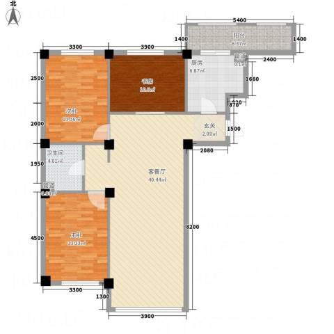 龙脉海景花园3室1厅1卫1厨95.15㎡户型图