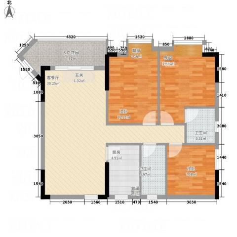 星宝明珠二期3室1厅2卫1厨82.65㎡户型图
