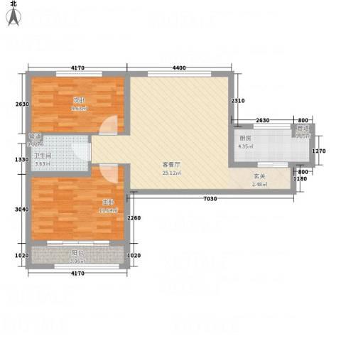 武阳秀美2室1厅1卫1厨84.00㎡户型图