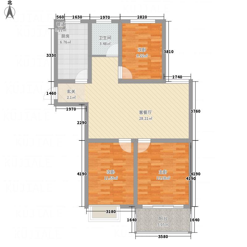 和泰・徽都豪庭111.20㎡C6户型3室2厅1卫1厨