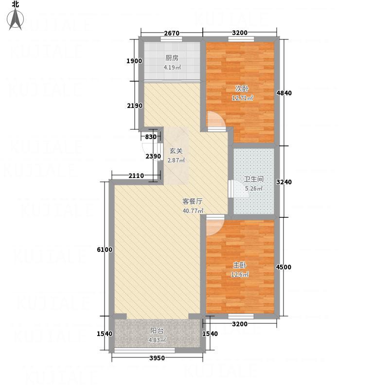 观海国际15.81㎡J户型2室2厅1卫
