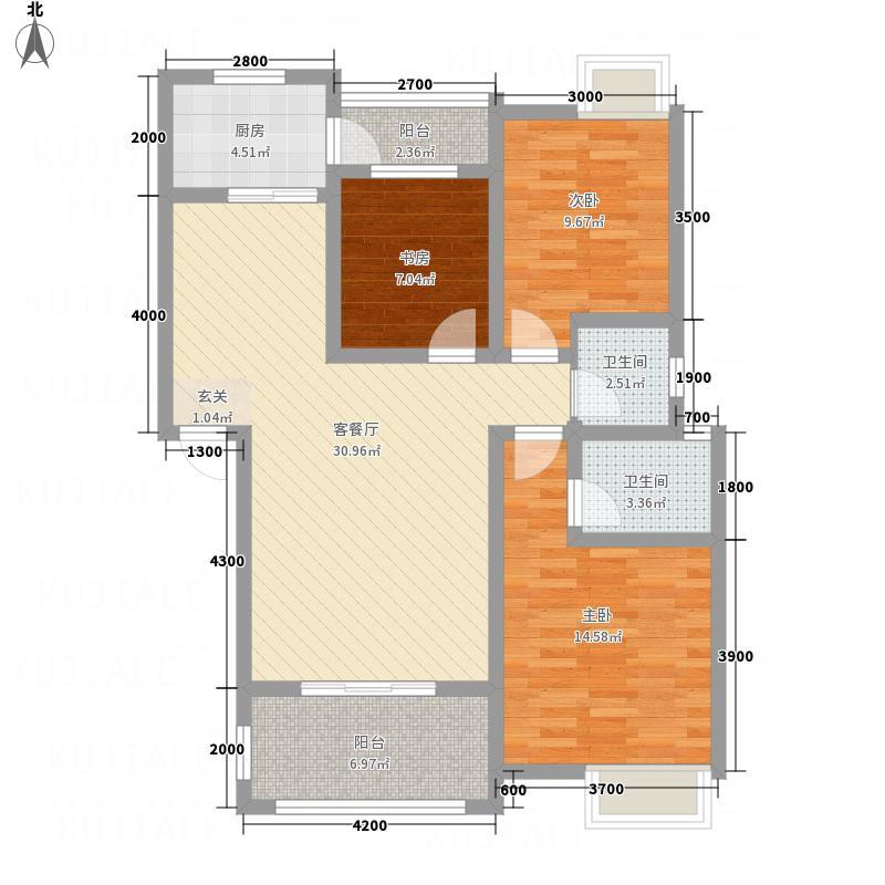 鸿升凯旋城2.58㎡D1户型3室2厅2卫1厨