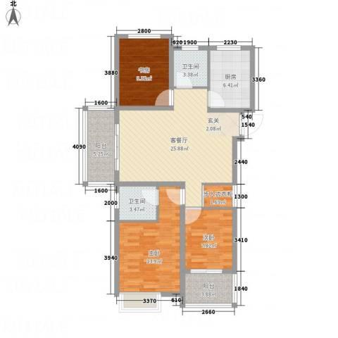 万邦金地花园3室1厅2卫1厨117.00㎡户型图