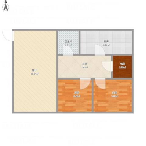 中关村南大街33号3室1厅1卫1厨73.00㎡户型图