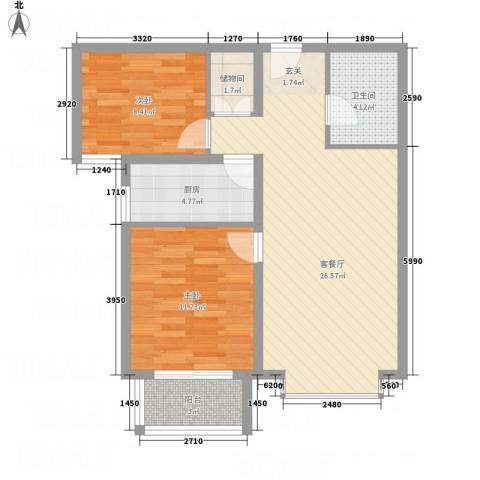 京润现代城2室1厅1卫1厨86.00㎡户型图
