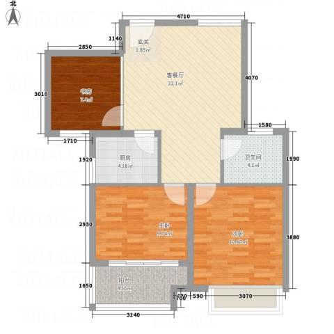 万邦金地花园3室1厅1卫1厨92.00㎡户型图