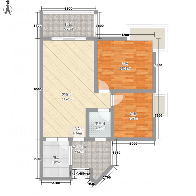 都市兰亭83.18㎡E1户型2室2厅1卫1厨