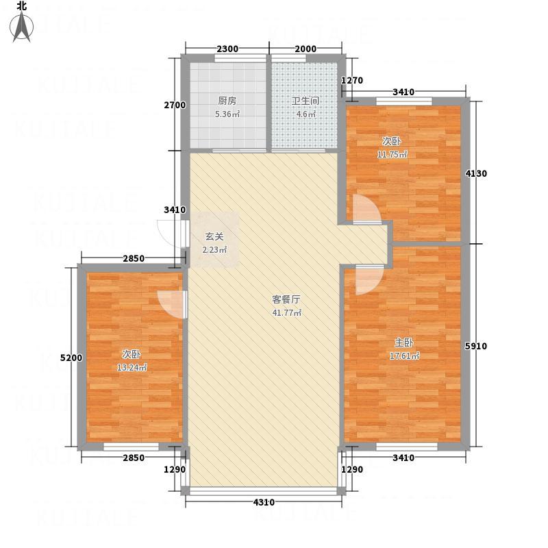 文祥豪府三期13.00㎡户型3室2厅1卫1厨