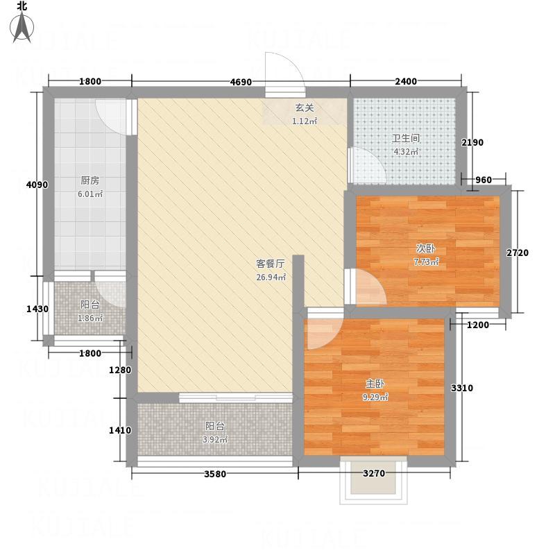 江�苑87.37㎡J2户型2室2厅1卫1厨