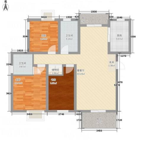 梅林国际3室1厅2卫1厨127.00㎡户型图