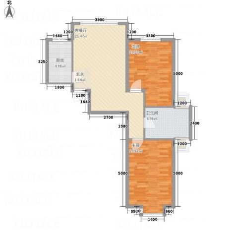 金瑞尚品2室1厅1卫1厨87.00㎡户型图