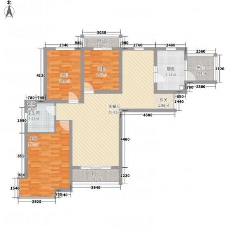 左岸高尔夫新城3室1厅1卫1厨108.00㎡户型图