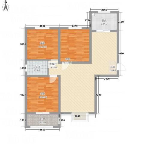 滨港龙湾3室1厅1卫1厨118.00㎡户型图