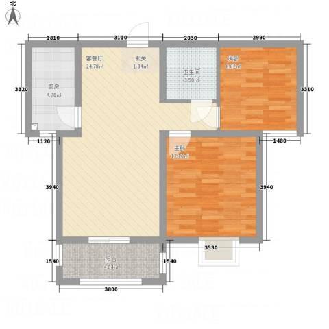 滨港龙湾2室1厅1卫1厨84.00㎡户型图