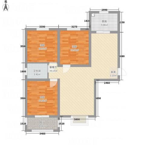 滨港龙湾3室1厅1卫1厨114.00㎡户型图