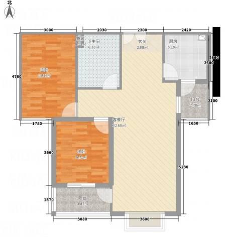 左岸高尔夫新城2室1厅1卫1厨83.00㎡户型图