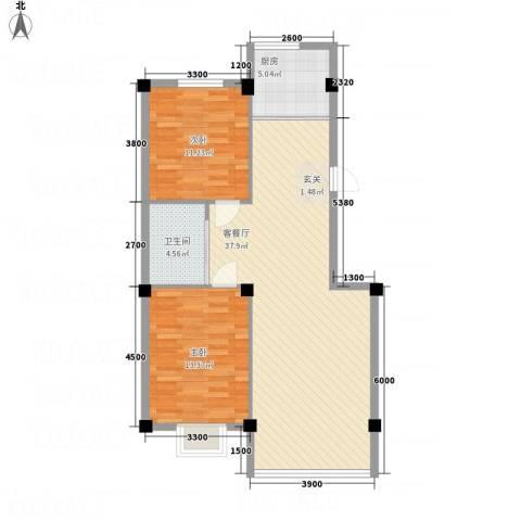 金瑞尚品2室1厅1卫1厨100.00㎡户型图