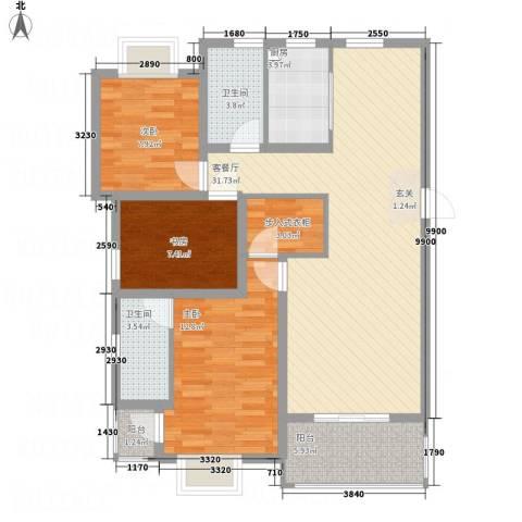 梅林国际3室1厅2卫1厨119.00㎡户型图