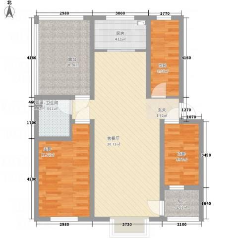 华晋佳苑3室1厅1卫1厨75.09㎡户型图