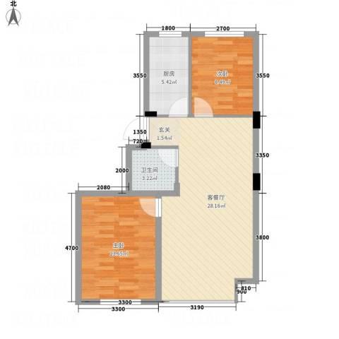 环宇金域蓝山2室1厅1卫1厨58.93㎡户型图