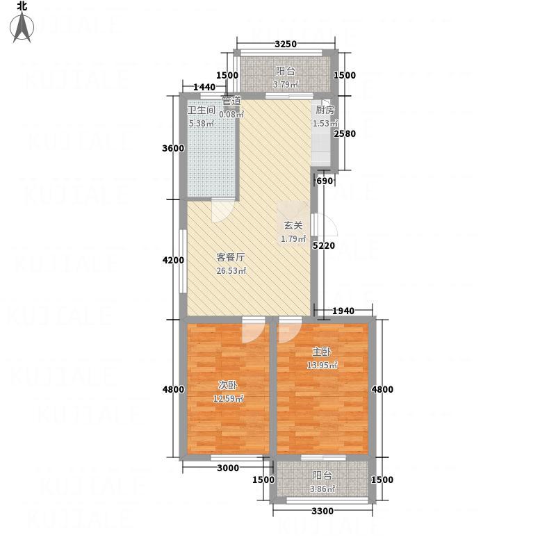 新泰・锦绣城3.47㎡两居户型2室1厅1卫1厨
