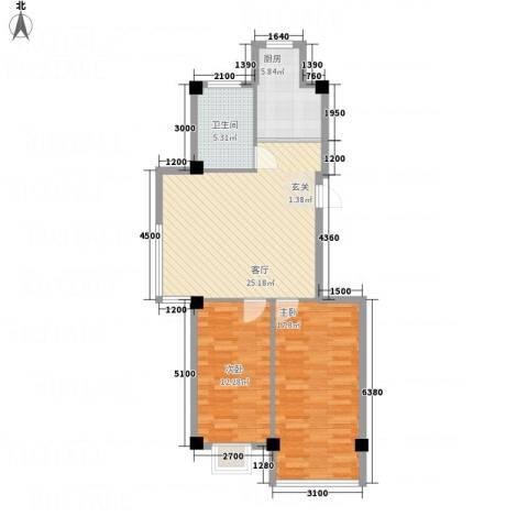 金瑞尚品2室1厅1卫1厨66.42㎡户型图