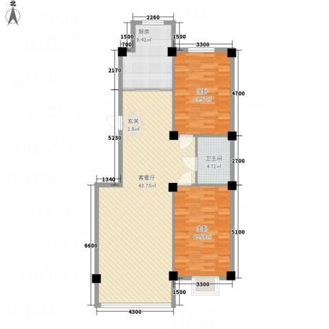 金瑞尚品2室1厅1卫1厨86.01㎡户型图