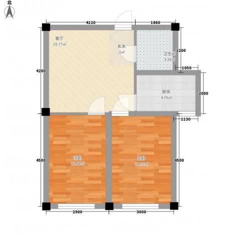 金瑞尚品2室1厅1卫1厨65.00㎡户型图