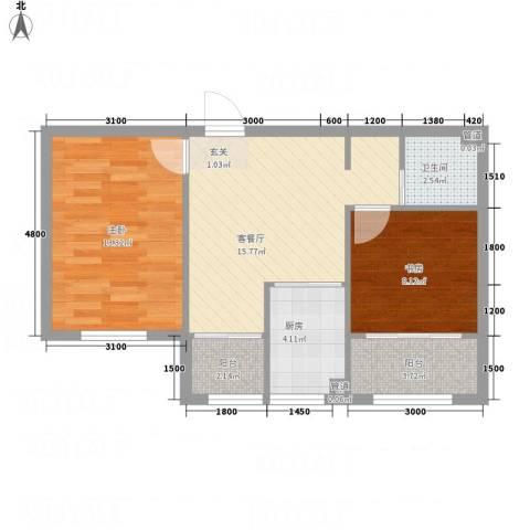 水御林溪2室1厅1卫1厨56.46㎡户型图