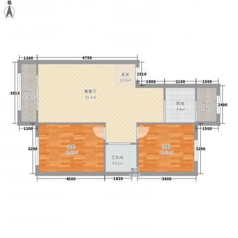 水御林溪2室1厅1卫1厨77.74㎡户型图