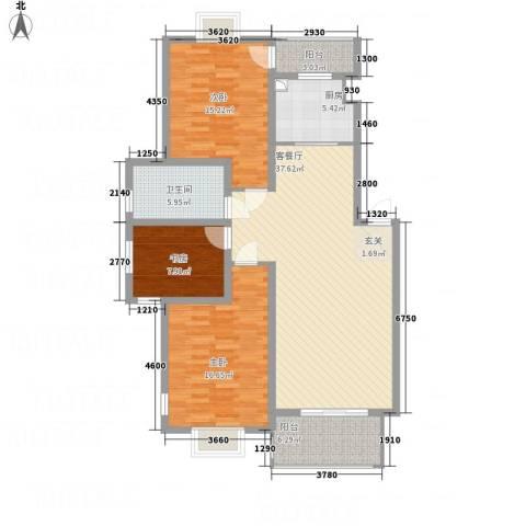 梅林国际3室1厅1卫1厨114.00㎡户型图