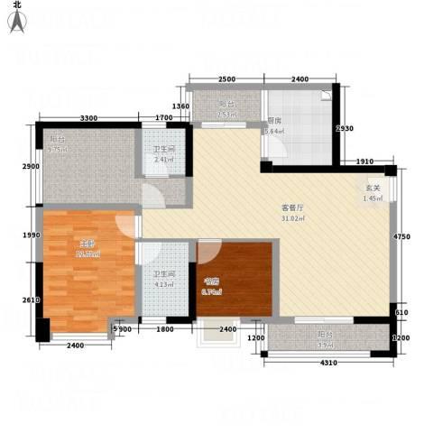 聚鑫2期阔座2室1厅2卫1厨92.06㎡户型图