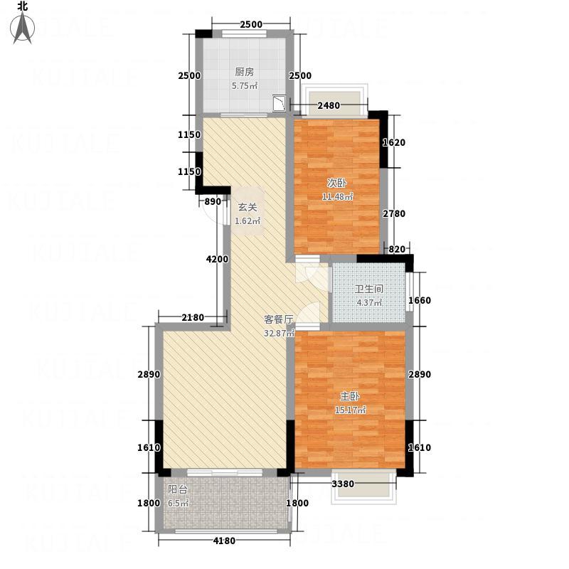 苏通国际新城4.20㎡4号楼B1户型2室2厅1卫1厨