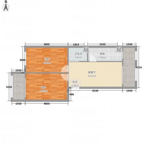水御林溪2室1厅1卫1厨70.34㎡户型图