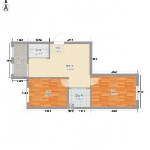 水御林溪2室1厅1卫1厨61.57㎡户型图
