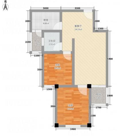 畔山庭院2室1厅1卫1厨56.05㎡户型图