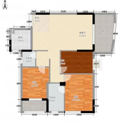 湖滨公寓3室1厅2卫1厨153.00㎡户型图