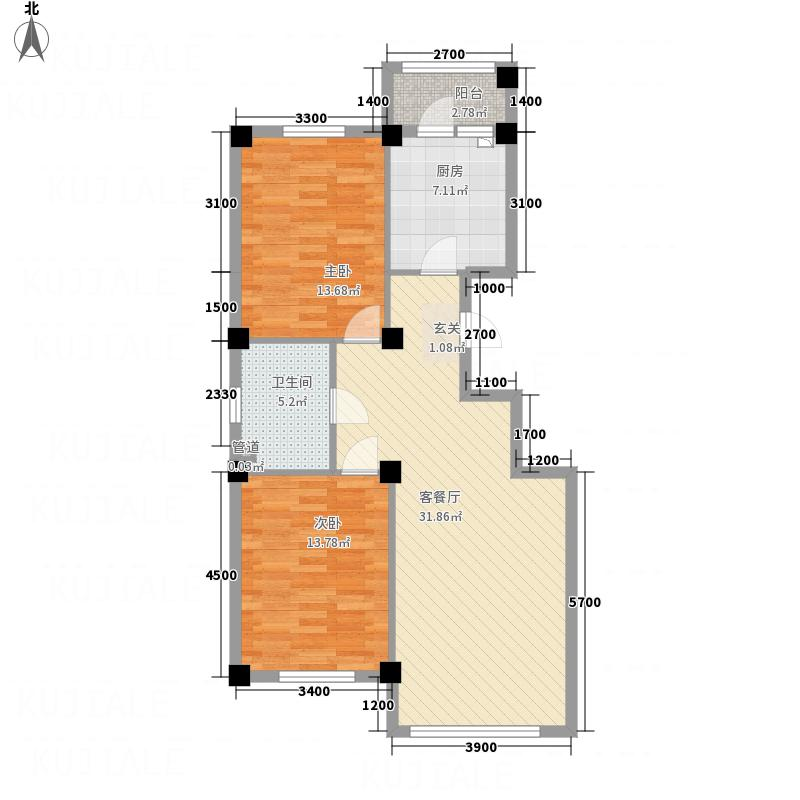 龙脉海景花园8.00㎡3号楼标准层户型2室2厅