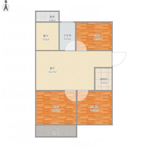 二七南路宿舍3室2厅1卫1厨132.00㎡户型图