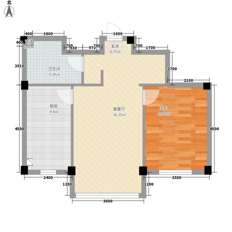 龙脉海景花园8.00㎡4号楼标准层户型1室2厅