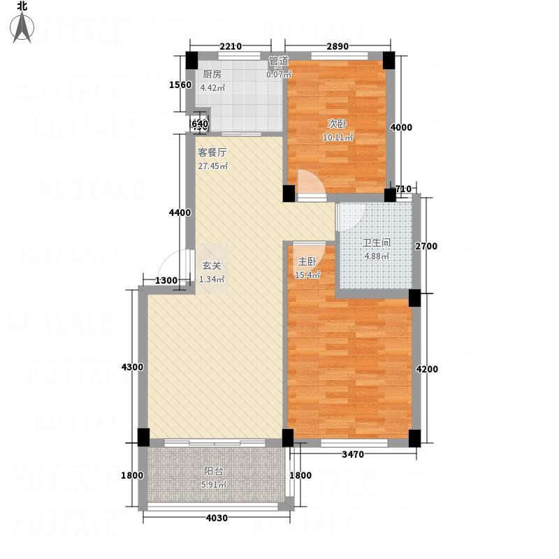 乾北・金色玫瑰82.00㎡A1户型2室2厅1厨