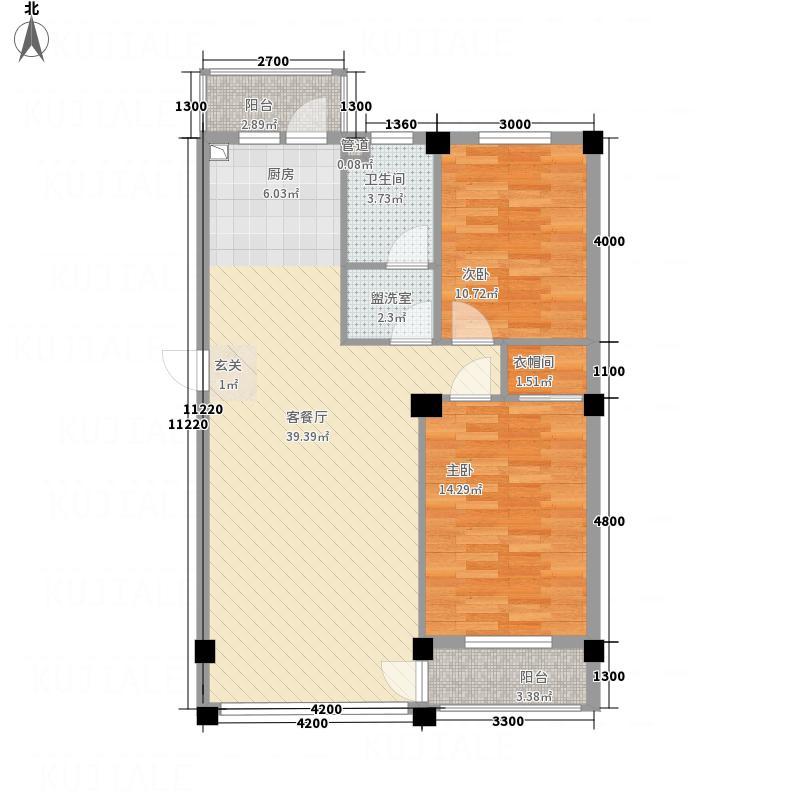 龙脉海景花园5.44㎡5号楼标准层户型2室2厅