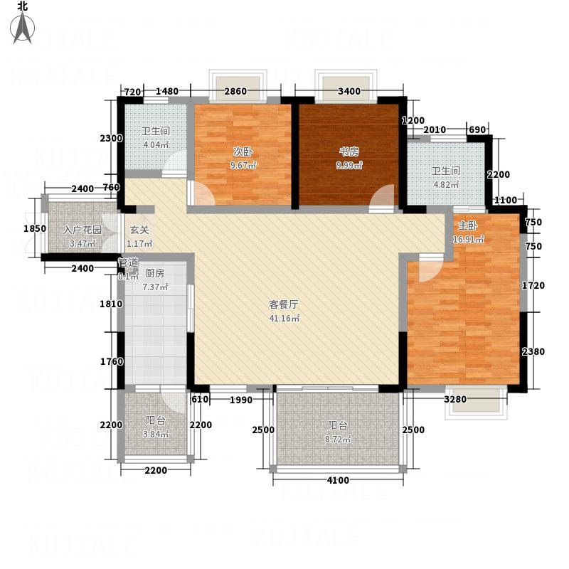 水木清华22133.52㎡2栋2单元A3室户型3室2厅2卫1厨