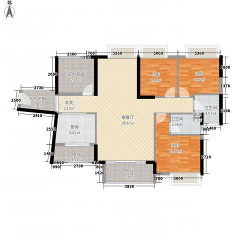 锦地繁花3室1厅2卫1厨127.00㎡户型图