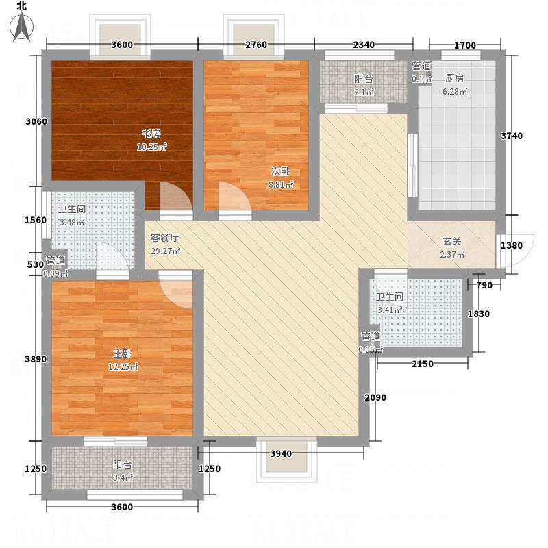 紫气东来115.53㎡户型2室2厅2卫1厨
