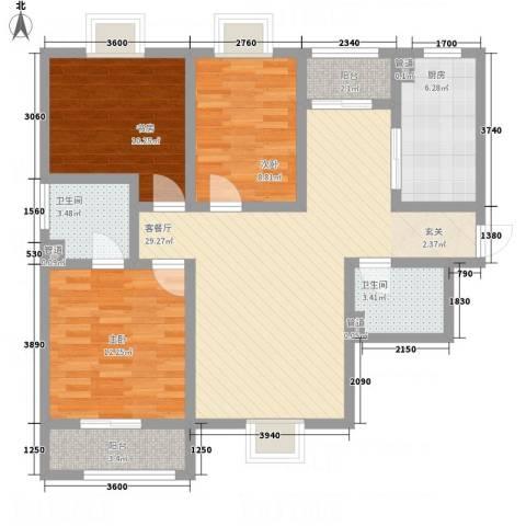 紫气东来3室1厅2卫1厨116.00㎡户型图