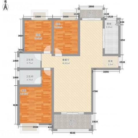 千林世纪城3室1厅2卫1厨128.00㎡户型图
